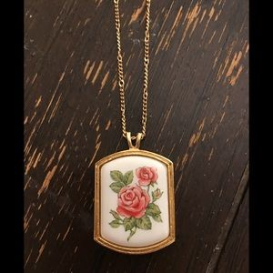 """Vintage gold Rose broach necklace shabby chic 22"""""""